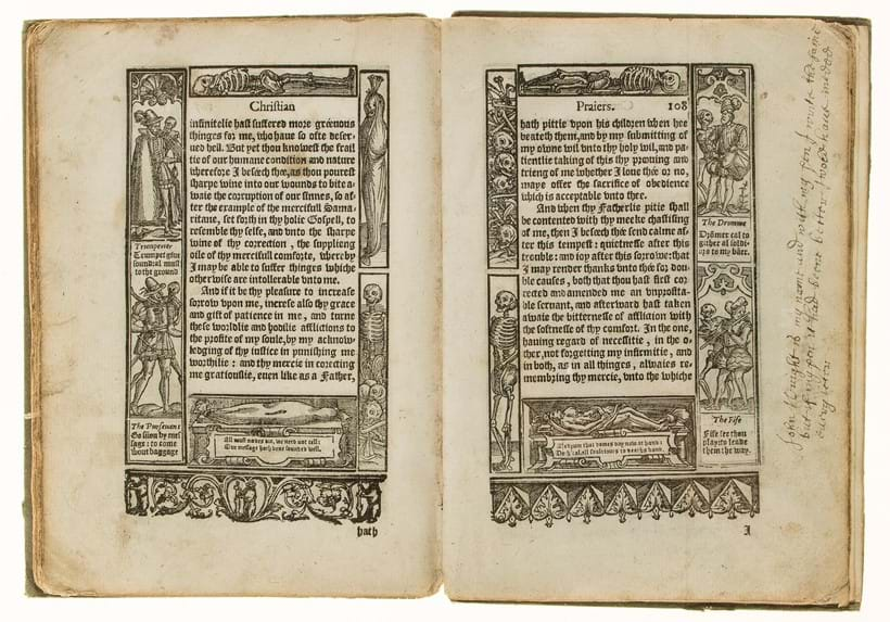 Inline Image - Richard Day, A Booke of Christian Prayers | each leaf with historiated woodcut border | John Day, 1578, est. £150-200, sold for £471