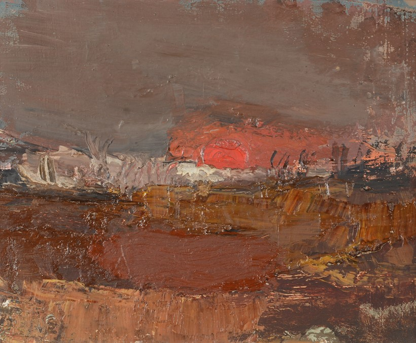 Inline Image - Lot 247: λ Joan Kathleen Harding Eardley (British 1921-1963), 'Red Sunset, No.2', Oil on canvas, laid to board | Est. £3,000-5,000 (+fees)