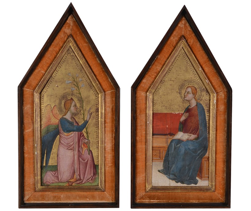 Inline Image - Lot 2: Florentine School (c. 1500), The Annunciation, (diptych) tempura and gold ground, each 44 x 18cm (17 1/4 x 7in.) (2) | Sold for £22,320