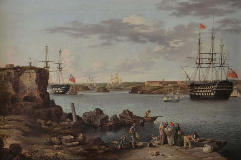Inline Image - Lot 46: Anton Schranz (German 1769-1839), HMS Caledonia entering Mahon, (offered with HMS Caledonia leaving Mahon)  oil on canvas, 41.5 x 62cm (16 1/4 x 24 1/2in.) (2) | Sold for £27,280