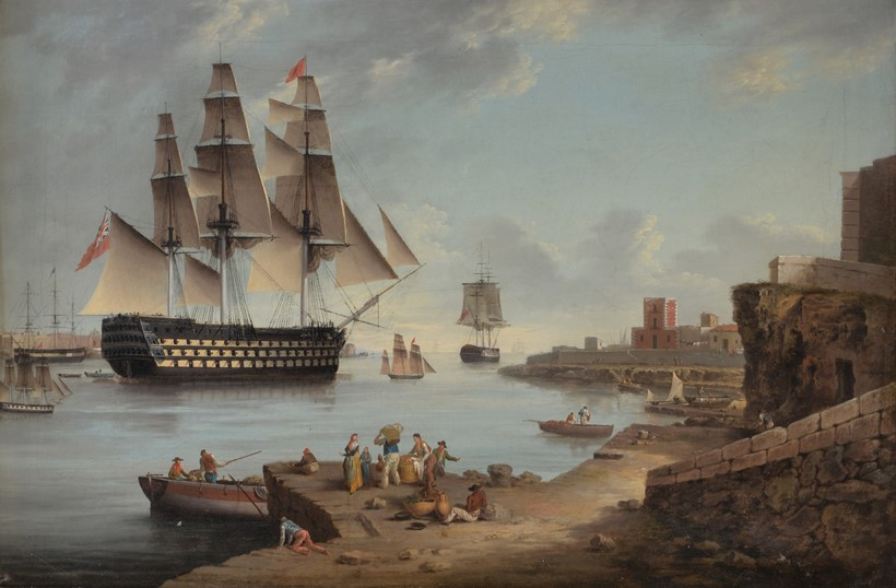 Inline Image - Lot 46: Anton Schranz (German 1769-1839), HMS Caledonia leaving Mahon, (offered with HMS Caledonia entering Mahon)  oil on canvas, 41.5 x 62cm (16 1/4 x 24 1/2in.) (2) | Sold for £27,280