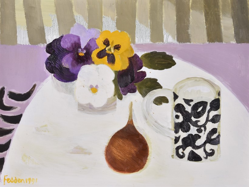 Inline Image - Lot 160, Mary Fedden (1915-2012), Still Life with Pansies and Onion, Oil on board, signed lower left, 31.5 x 41.5cm (11 3/8 x 16 1/4in.) | Sold for £9,300