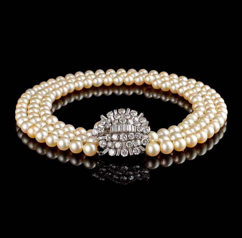 Inline Image - 1950s diamond and cultured pearl necklace by Boucheron, Paris | From Fine Jewellery, Watches and Silver, 11th July | Sold for £17,980
