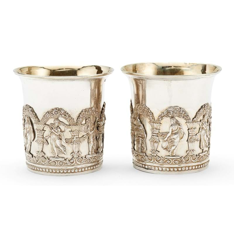 A pair of Russian silver beakers, Moscow 1839
