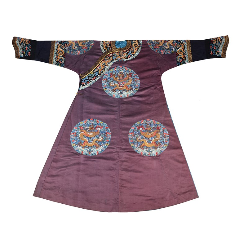 An Imperial Chinese eight dragon roundel robe