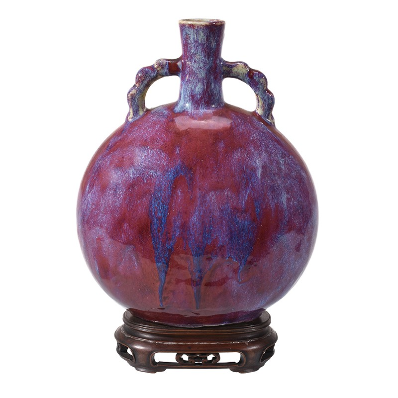 A Chinese flambé glazed two-handled moon flask