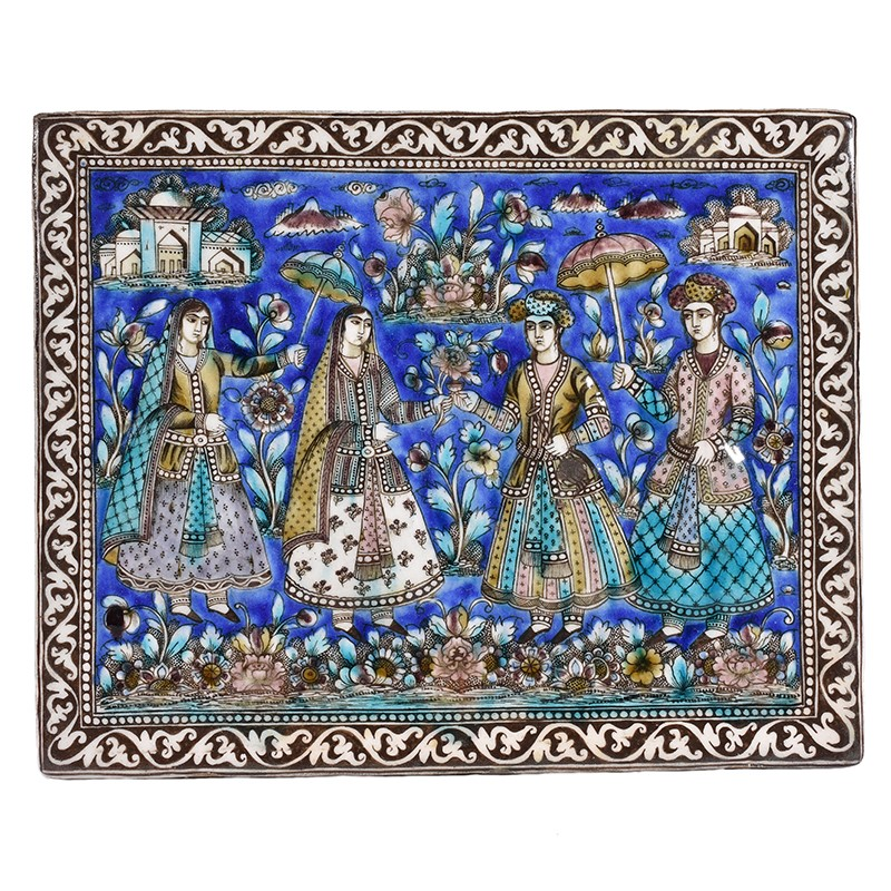 A Qajar square polychrome pottery tile Persia 19th century