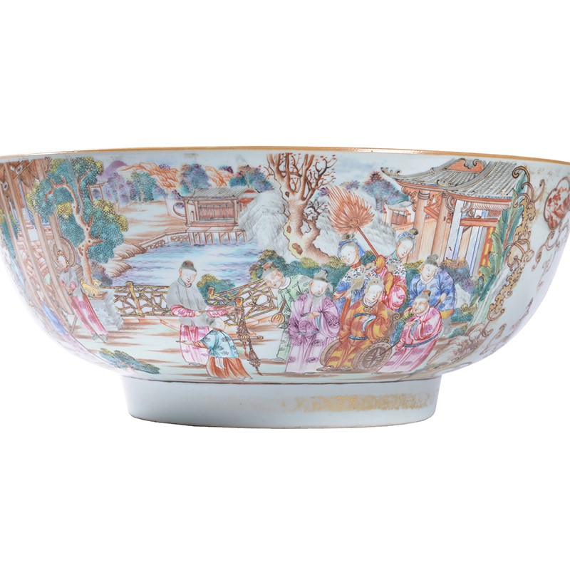 A large Chinese 'Famille Rose' punch bowl, Qianlong