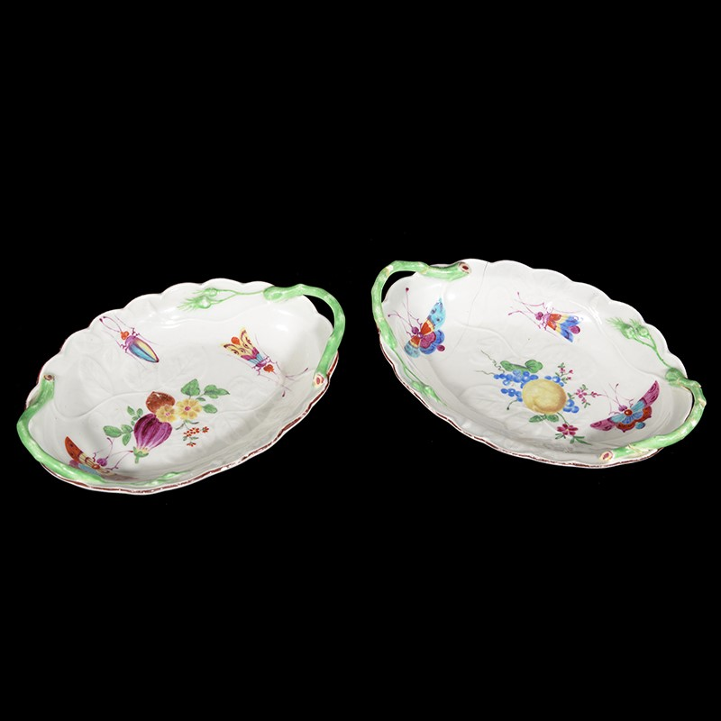 A pair of Worcester shaped oval two-handled 'Blind Earl' trays decorated in the workshop of James Giles
