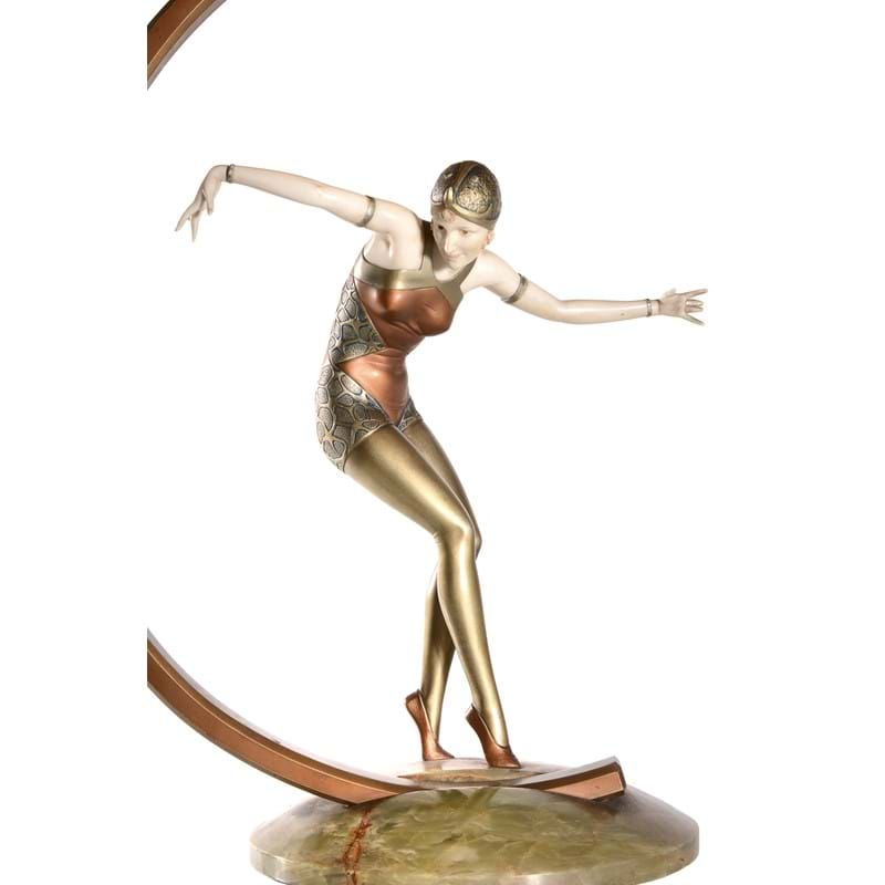 Ferdinand Preiss (1882-1943), Cabaret Dancer, an Art Deco cold painted bronze and ivory figure