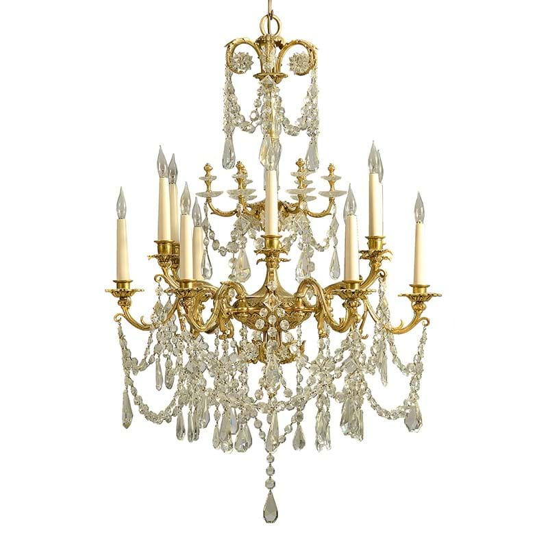 A gilt metal and cut glass mounted chandelier in Napoleon III taste