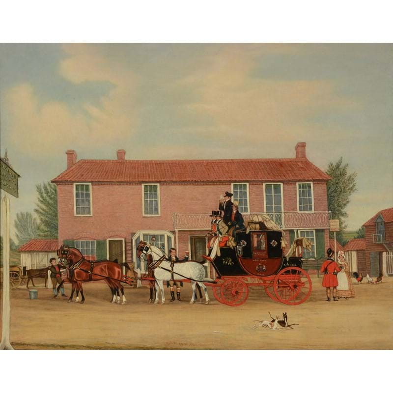 James Pollard (British 1792-1867), The Norwich Mail at the Coach and Horses, Ilford, oil on canvas
