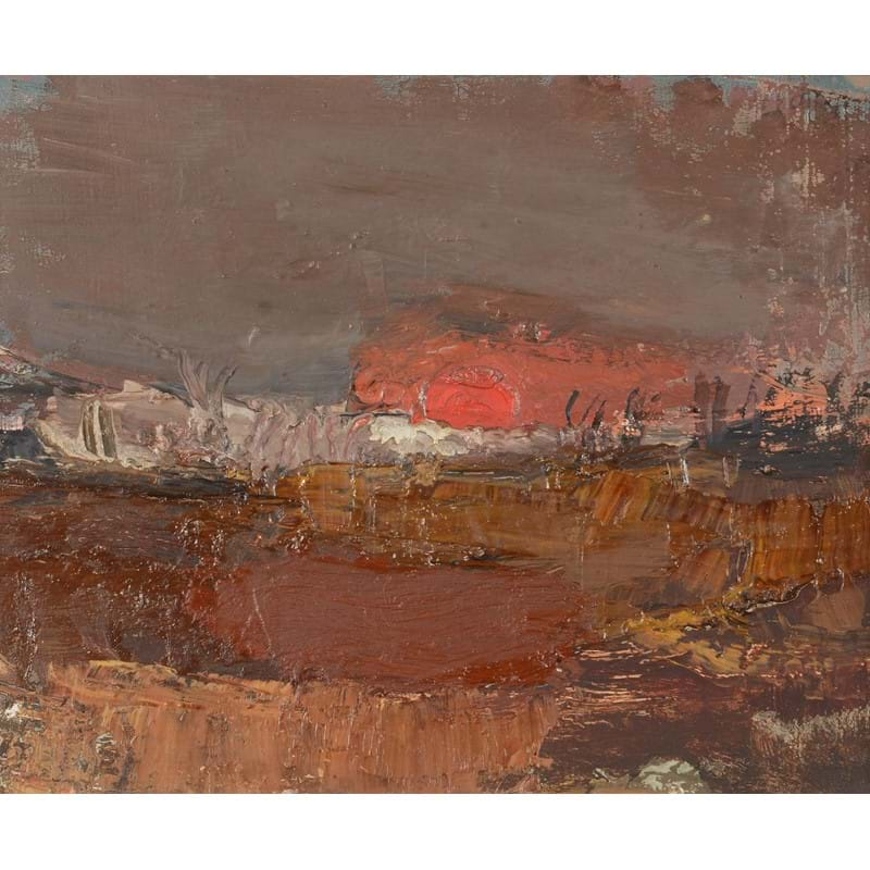 Joan Kathleen Harding Eardley (British 1921-1963), Red Sunset, No.2, oil on canvas, laid to board