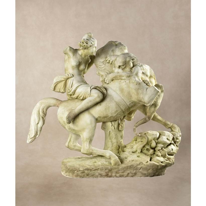 Inline Image - LOT 129: AFTER AUGUST KARL EDUARD KISS, (GERMAN 1802 – 1865), A SCULPTED WHITE MARBLE GROUP OF AN AMAZON ON HORSEBACK ATTACKED BY A PANTHER, THIRD QUARTER 19TH CENTURY | EST. £3,000-5,000 (+FEES)