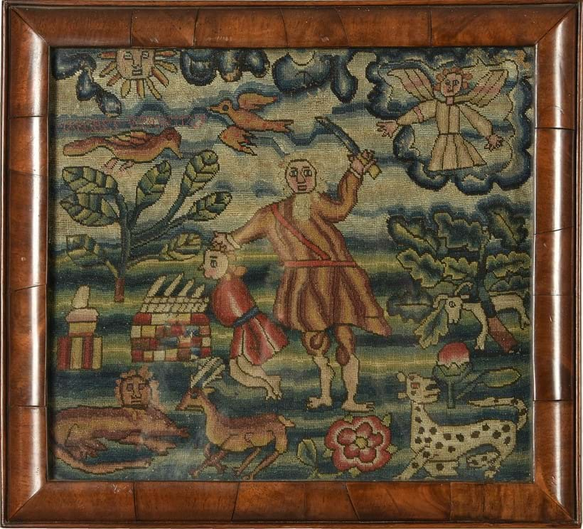 Inline Image - LOT 20: A GEORGE II BIBLICAL NEEDLEWORK PANEL DEPICTING THE SACRIFICE OF ISAAC | EST. £700-1,000 (+FEES)