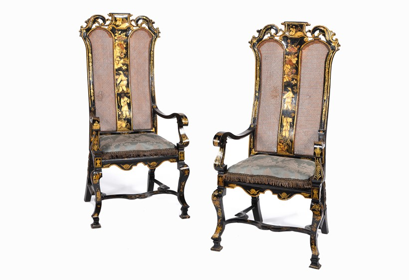 Inline Image - LOT 25: A PAIR OF BLACK LACQUER AND GILT CHINOISERIE DECORATED ARMCHAIRS, CIRCA 1700 AND LATER | EST. £1,500-2,000 (+FEES)