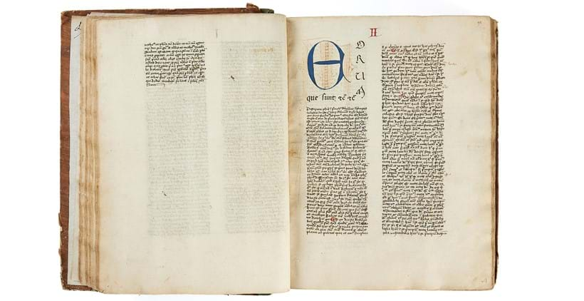 Inline Image - Lot 77: Walter Burley, Commentaries on Aristotle, De Physica, in Latin, illuminated manuscript on paper [Italy (Venice), dated 24 February 1435/9] | Est. £30,000-50,000 (+fees)