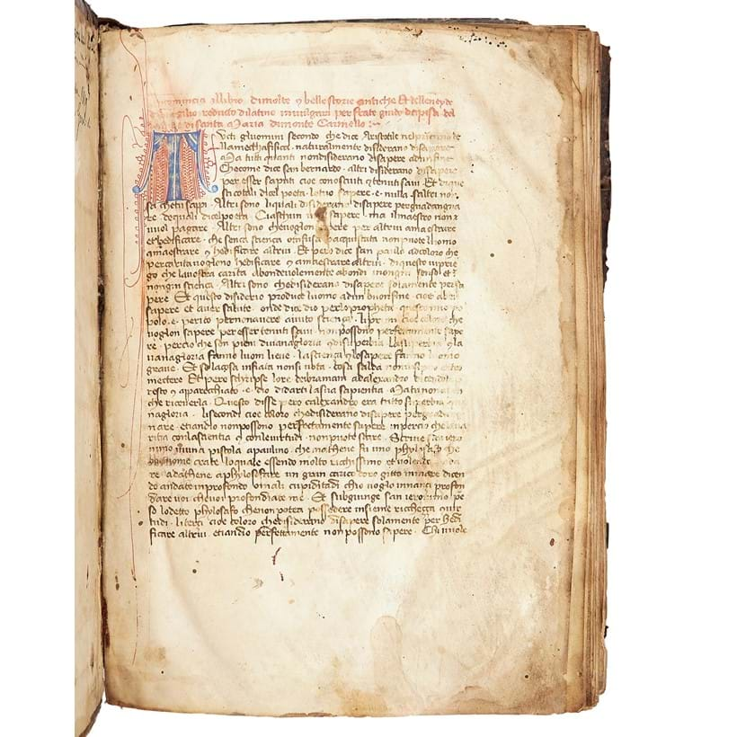 Inline Image - Lot 79: Guido da Pisa, La Fiorita dItalia, with frequent citations of the works of Dante Alighieri, in medieval Italian, decorated manuscript on parchment [Italy (probably Tuscany), mid-fifteenth century] | Est. £20,000-30,000 (+fees)
