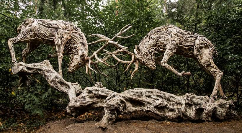 Inline Image - James Doran Webb, 'Rutting Stags', Wood, stainless steel and metal, 235cm high, 530cm wide, 160cm deep | Est. £60,000-80,000 (+fees)
