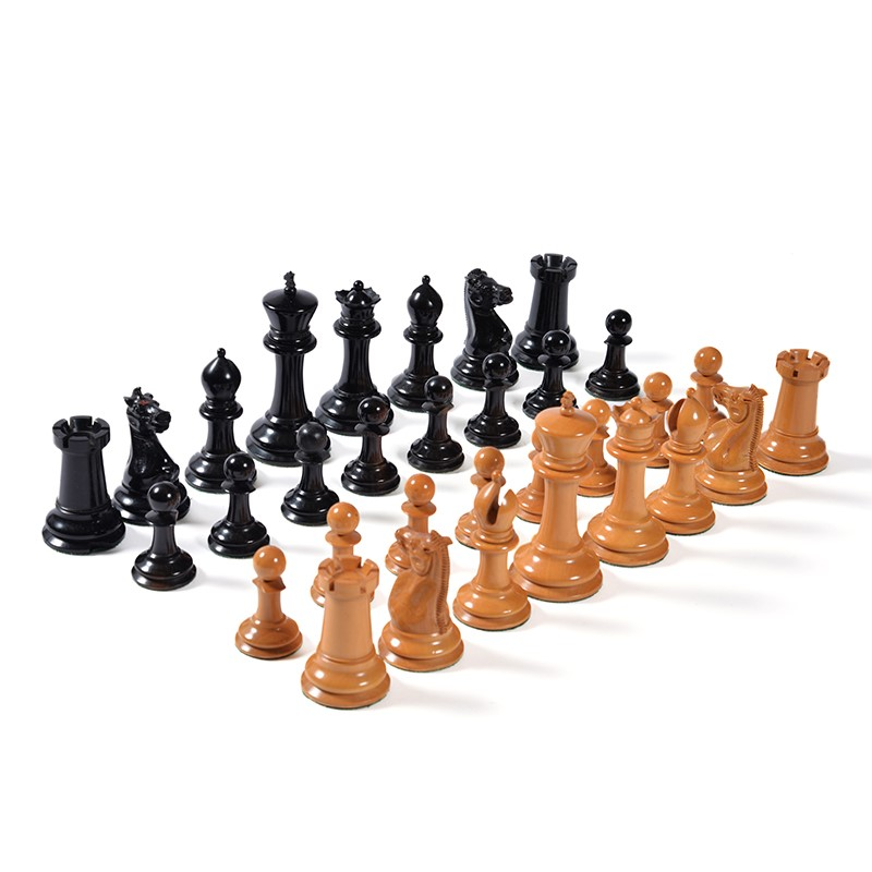 A Victorian boxwood and ebony Staunton pattern chess set, by Jaques of London, circa 1875