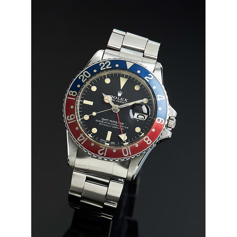 Inline Image - Lot 239: Rolex, Oyster Perpetual GMT-Master, ref. 1675, a stainless steel bracelet watch, no. 3423339, circa 1973 | Est. £8,000-12,000 (+fees)