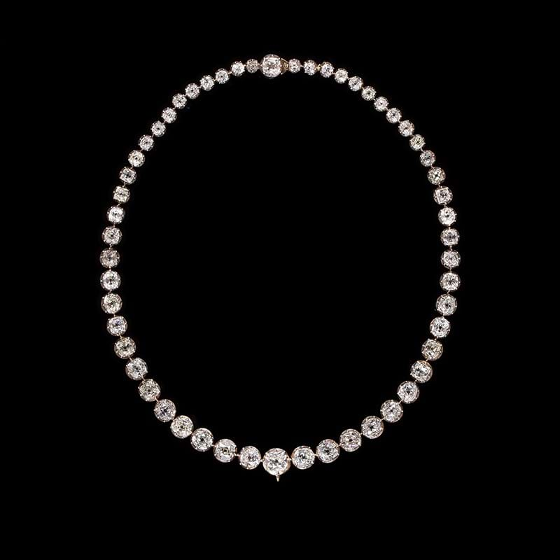 A Victorian diamond riviere necklace, circa 1880
