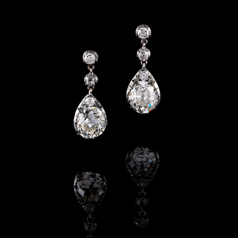 A pair of early 20th century diamond drop earrings