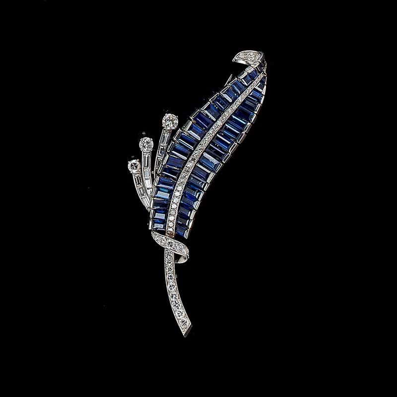 A French sapphire and diamond brooch