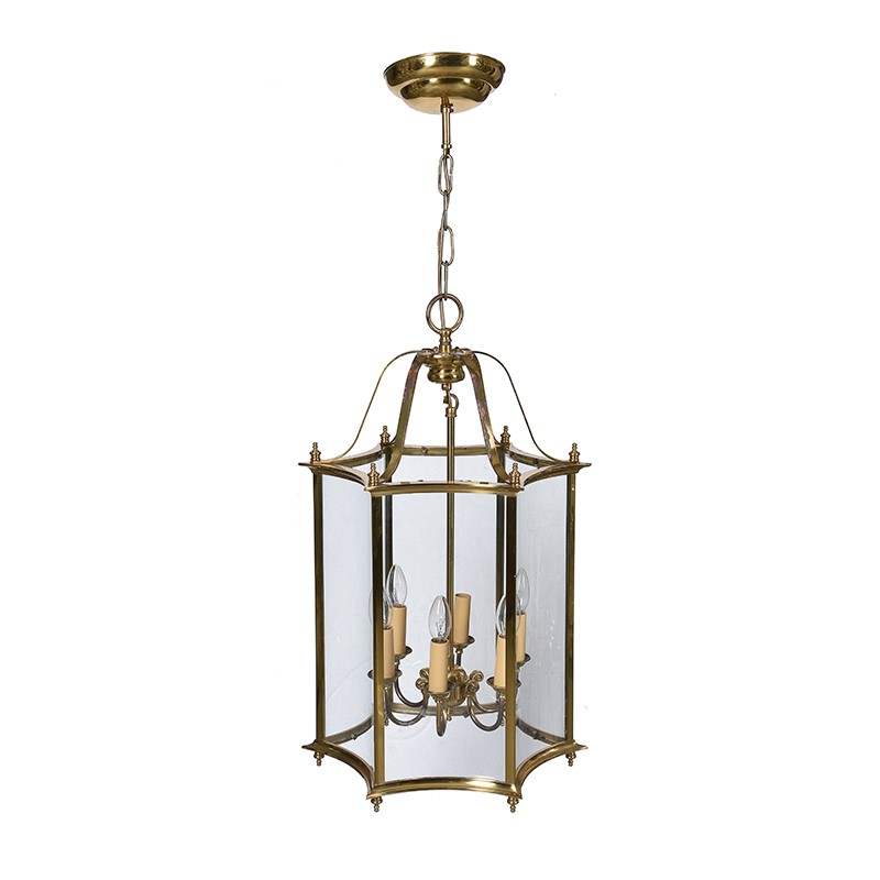 A gilt metal and glazed hexagonal hall lantern