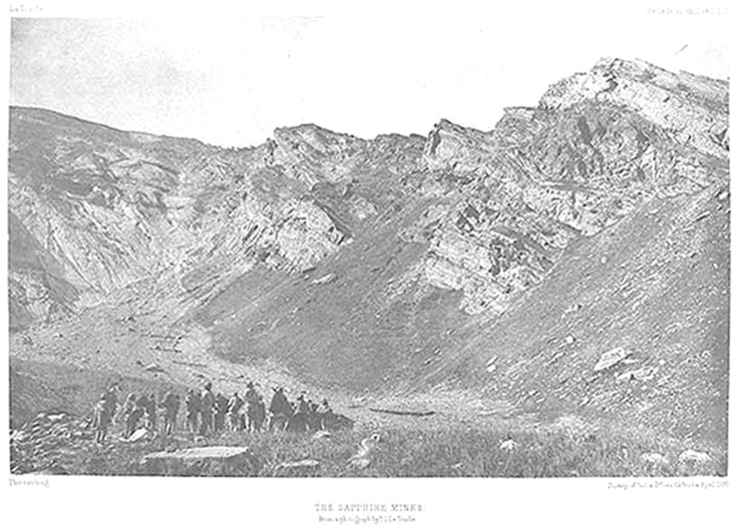 Inline Image - One of the earliest known photographs of the Kashmir sapphire mines taken by T. D. LaTouche in the 1880s
