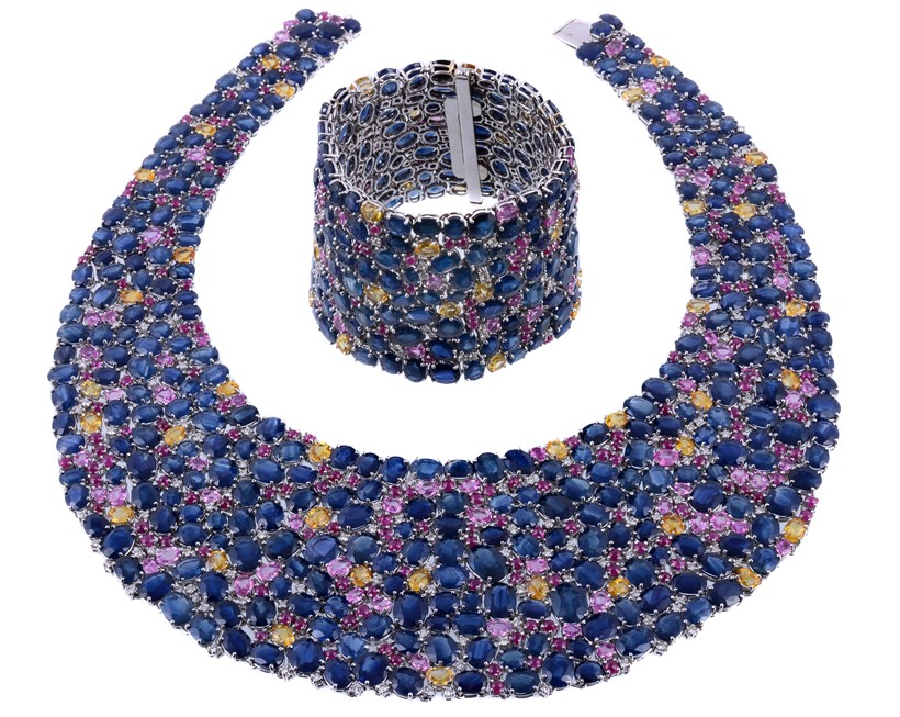 Inline Image - A blue and multi-coloured sapphire bib necklace and matching bracelet by Assil, New York. Sold at Dreweatts for £16,740