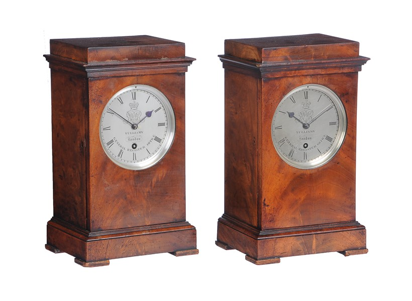 Inline Image - Lot 159: A fine and extremely rare pair of early Victorian mahogany small library mantel timepieces supplied to H.M. Government General Register Office, Benjamin Lewis Vulliamy, London, circa 1837/8 | Est. £12,000-18,000 (+fees)