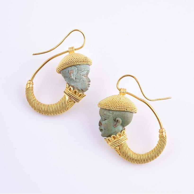 Inline Image - A pair of faience and granulated gold earrings, copies of a pair of earrings made by Castellani now in the Museo Nazionale Etrusco di Villa Giulia in Rome.