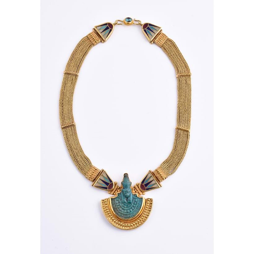 Inline Image - Woven Gold Chain and enamel necklace with an ancient Egyptian faience of Mut, Ptolemaic Period, 303 – 30BC (originally exhibited Tambaran Gallery, New York November 1989 – January 1990)