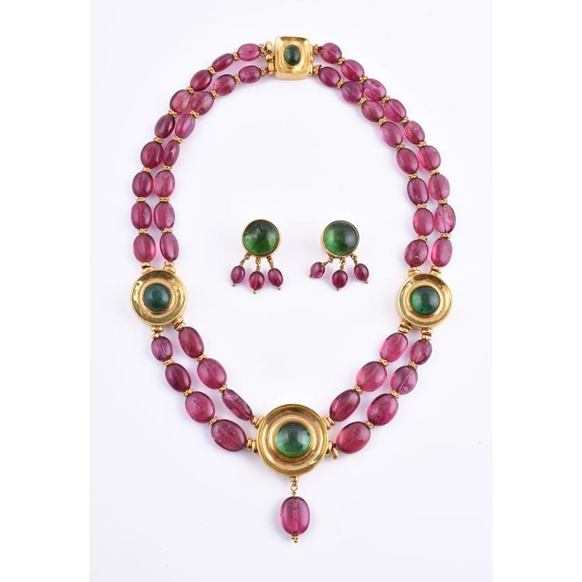 Inline Image - A pink and green tourmaline bead necklace, offered for sale with a facsimile copy of Natalia Josca's notes on how this jewel was made.
