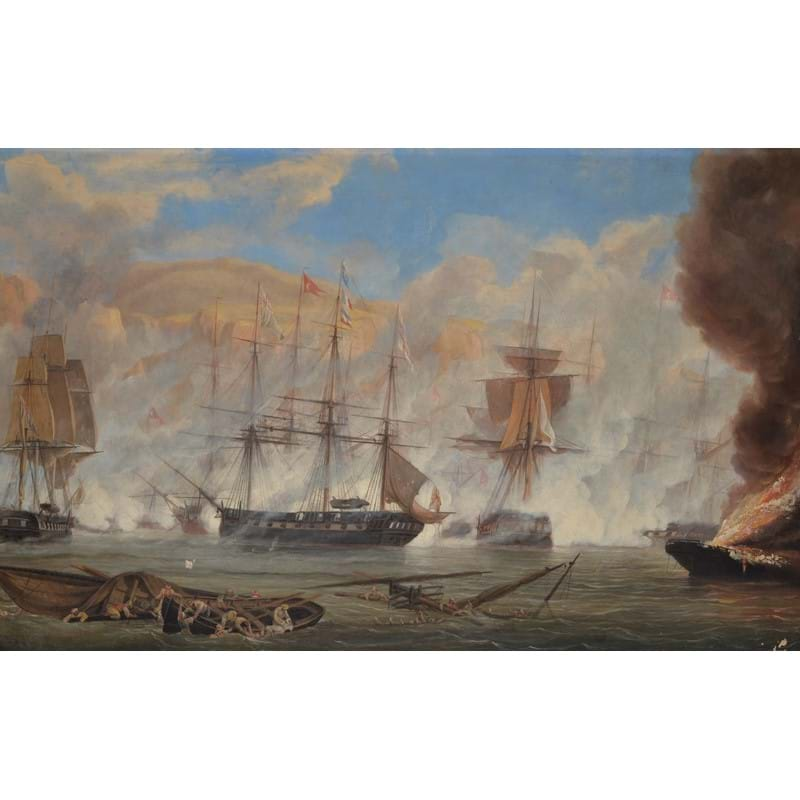 John Christian Schetky (British 1778-1874), H.M.S. Talbot, Captain Hon. F. Spencer in Action on Naverino, 20 October 1827