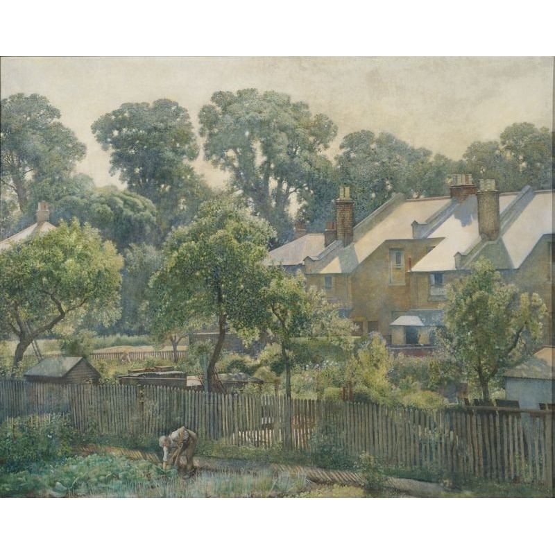 Harry Bush (British 1883-1957), Summer Morning - View from the artist's house at 19 Queensland Avenue, London SW19