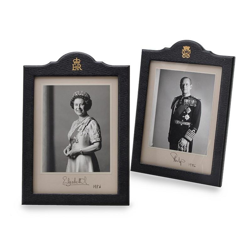 Elizabeth II (Queen of Britain) and Philip, Duke of Edinburgh, two full length portraits in full ceremonial dress | Oakley House