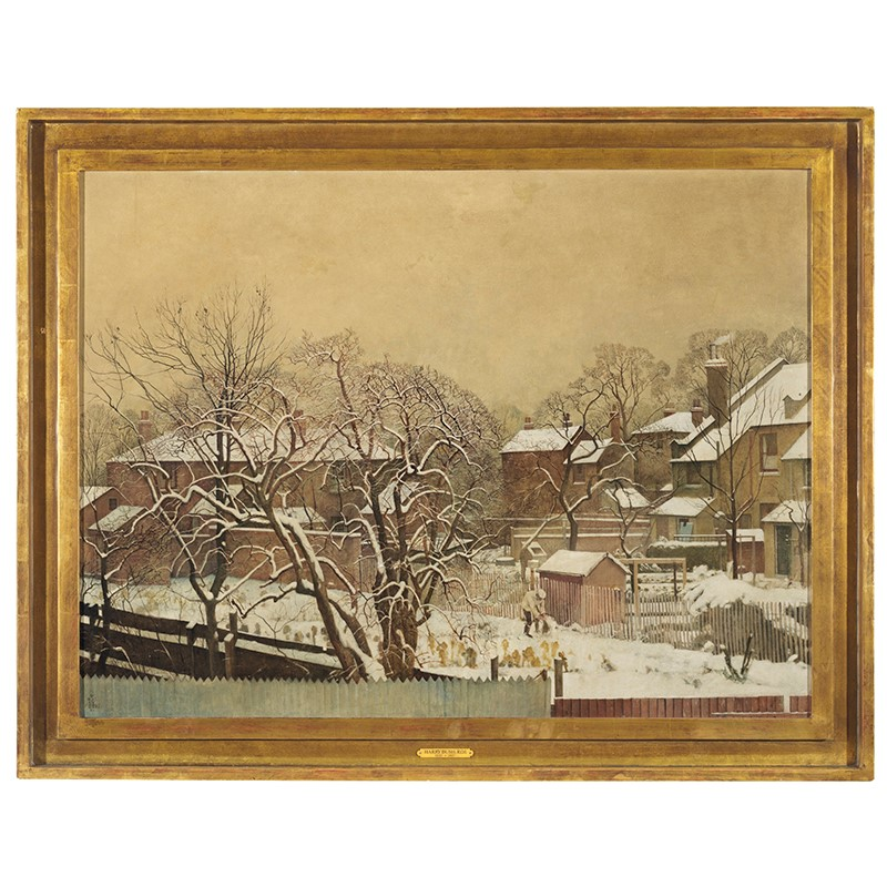 λ Harry Bush (British 1883-1957), 'Snowfall in the suburbs - A view from the artist's house', Oil on canvas | A Collector's Eye: Two Private Collections