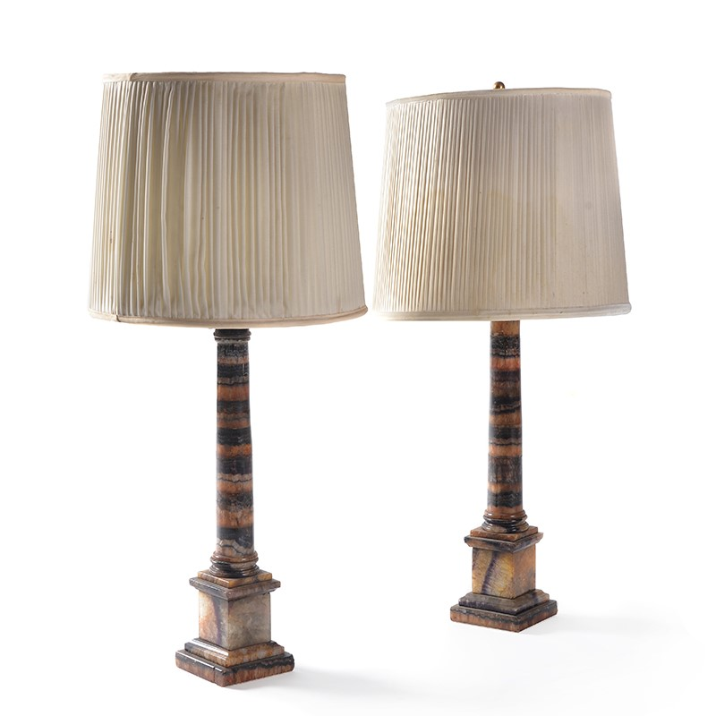 A pair of Blue John columnar table lamps | A Collector's Eye: Two Private Collections