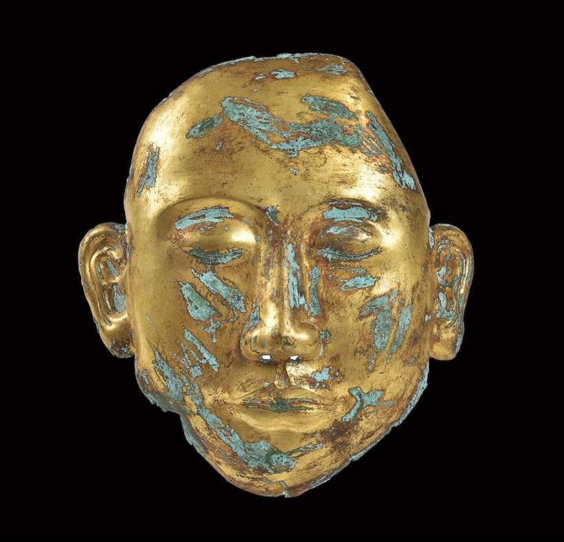 Inline Image - Lot 291 - rare gilt bronze Chinese funeral mask from the Liao Dynasty