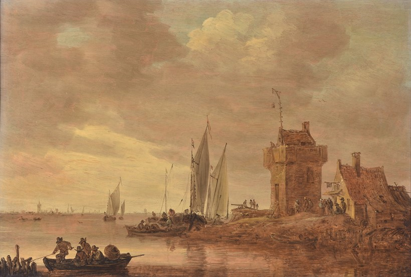 Inline Image - Jan Josefsz. van Goyen (Dutch 1596-1656) An estuary landscape on the Rhine with square tower and tall gallows signal. Oil on panel | Est. £60,000-80,000 (+ fees)