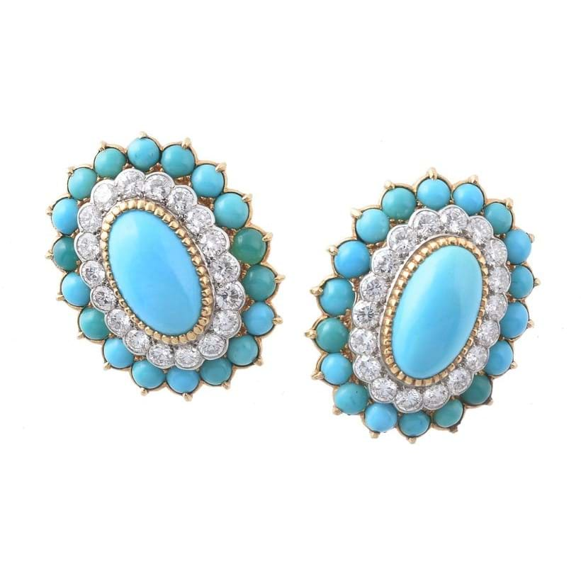 Inline Image - A pair of 1960s turquoise and diamond ear clips by Cartier | Est. £6,000-8,000 (+ fees)