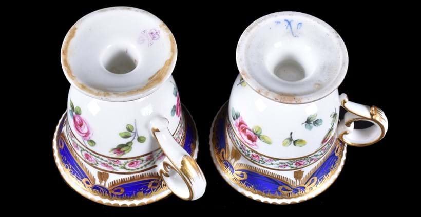 Inline Image - Left: Derby ice cup in the Sevres-style, note the '1' and '7' marks; Right: Sevres porcelain ice cup