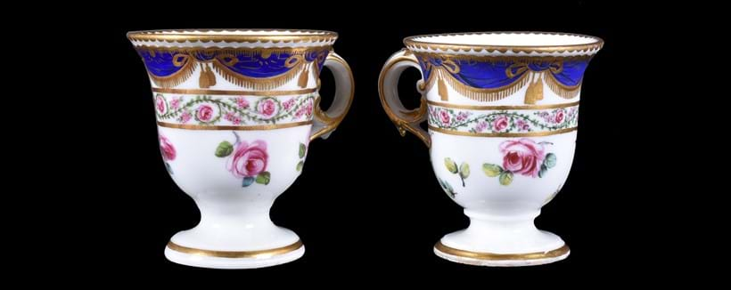 Inline Image - Lot 71: A Sevres porcelain ice cup (tasse a glace), circa 1770-75; and a Derby ice cup in the Sevres-style painted by William Billingsley, circa 1790 | Est. £300-500 (+ fees)