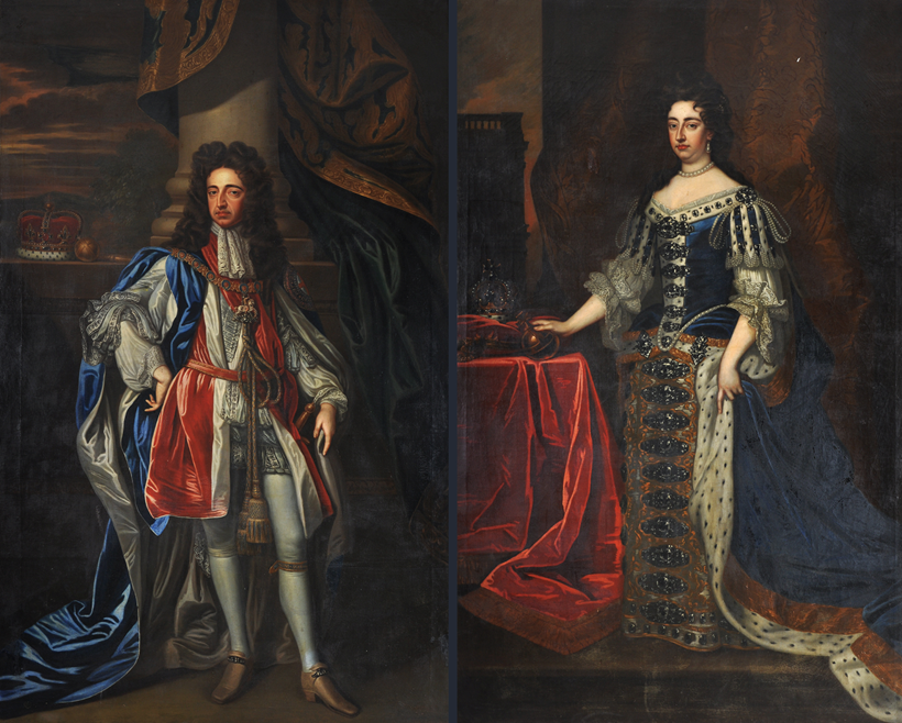 Inline Image - Lot 14 Follower of Sir Godfrey Kneller, Portraits of William and Mary in coronation robes, pair Oil on canvas, Est. £12,000-18,000. The portrait of Mary II is after the portrait by Sir Godfrey Kneller painted in 1690, and now in the Royal Collection, Windsor Castle, Ref: RCIN 405674