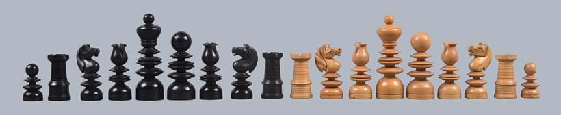 Inline Image - Lot 207: Y A turned boxwood and ebony St George pattern chess set, 19th century, in the manner of sets by John Calvert. Est. £200-300 (+fees)