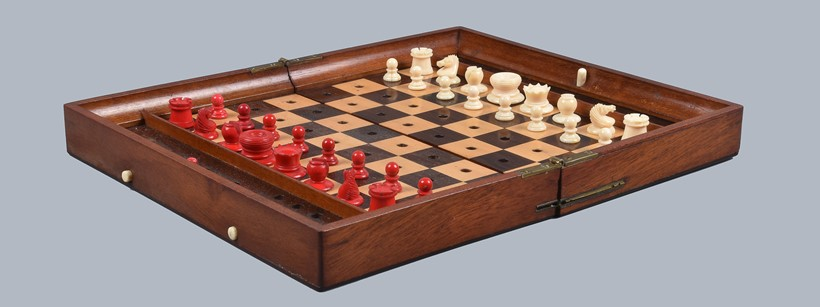 Inline Image - Lot 210: Y An 'In Statu Quo' travel chess set by Jaques of London, circa 1875. Est. £200-300 (+fees)