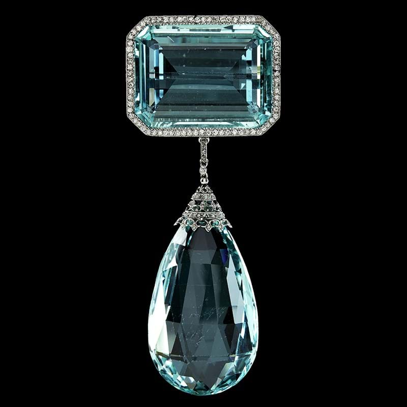 An impressive Edwardian aquamarine and diamond brooch, provenance: Lady Nancy Astor, thence by family descent