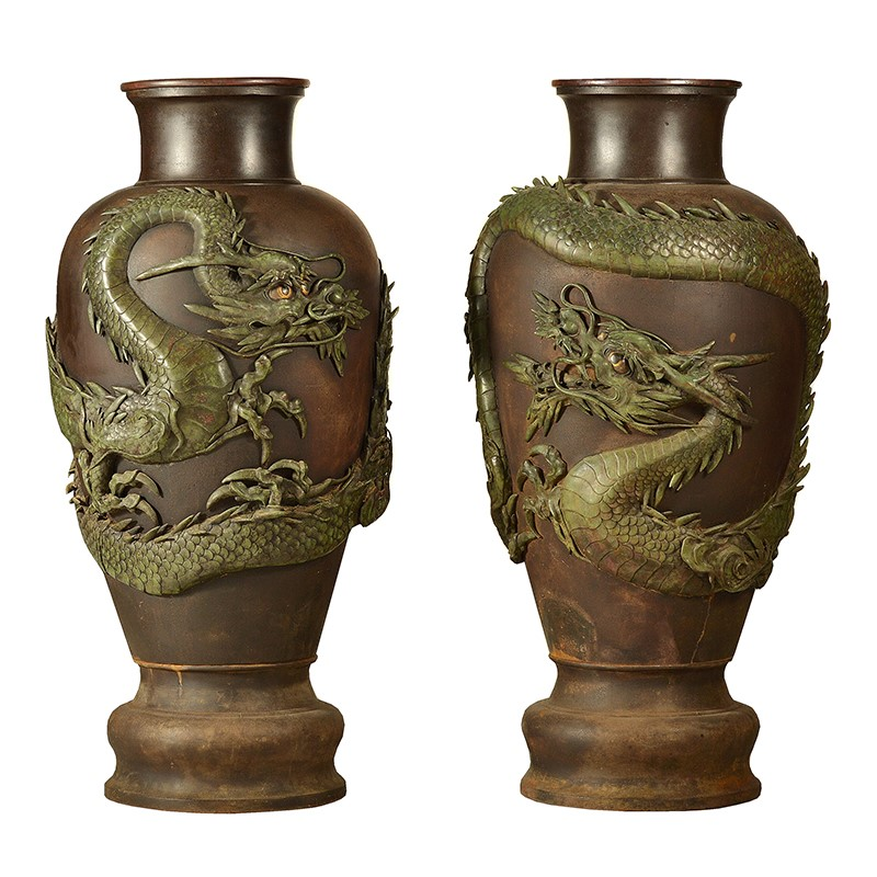 A very large pair of Japanese bronze vases